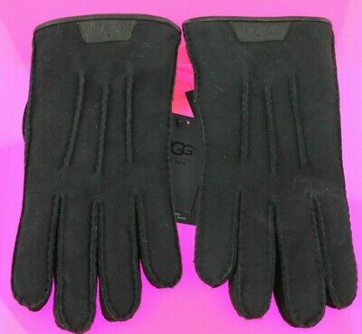 Ugg Men's Casual Gloves With Leather Logo Black Nwt Size Medium 1090073