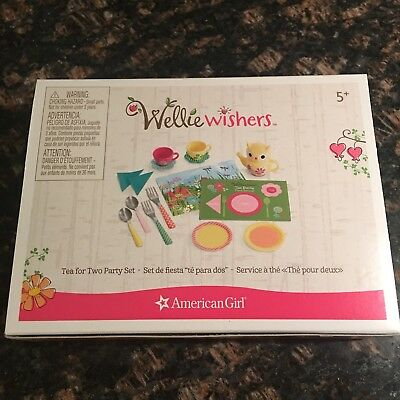 New American Girl Wellie Wishers Doll Tea for Two Party Set Cups Forks Spoons