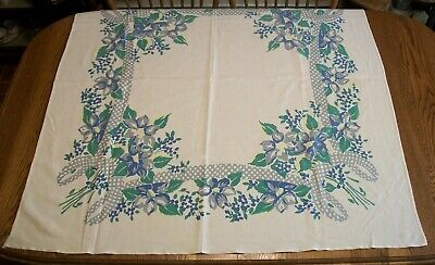 Vintage 48 X 50 Printed Cotton Tablecloth -  Blue, Green & Gray Floral Design