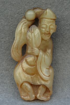 Chinese Exquisite Hand carved the ancients Carving Hetian jade statue