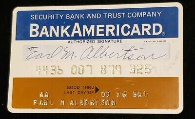 BankAmericard Security Bank and Trust Credit Card exp 1977♡Free Shipping♡cc108
