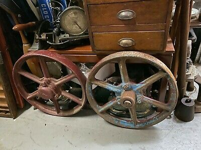 Pair of Antique Cast Iron Tractor Wheels Man Cave Bar Garden Display 46cm