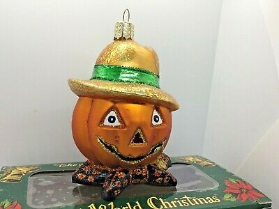 "Old World Christmas Owc Halloween ""Bumpkin"" Pumpkin Head Scarecrow Ornament"