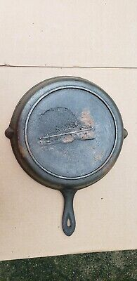 Antique Gate Mark 10 Cast Iron Skillet Fancy Ornate Handle Civil War Heat Ring