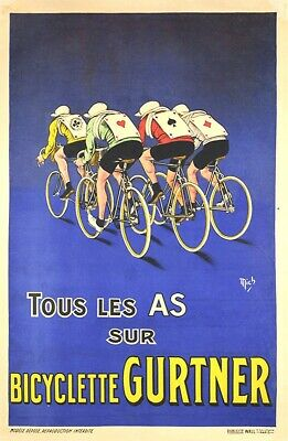 "24x36 1900 La Peoria Bicyclette American/"" Vintage Style French Bicycle Poster"