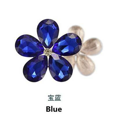 2pcs Crystal Rhinestones Metal Beads Flowers Embellishments Sewing Patches Blue