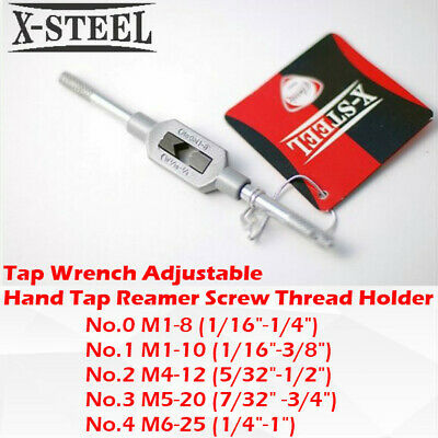 No.0/1/2/3/4 Tap Wrench Adjustable Hand Tap Reamer Screw Thread Holder