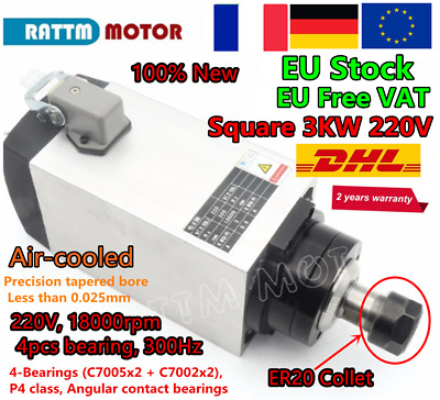 〖FR〗 3KW ER20 220V Air Cooling Spindle Motor for Wood Milling/Cutting/CNC Router