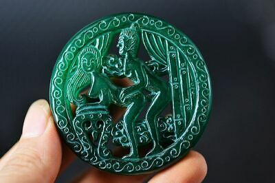 Chinese Old Green Jade Carved *Sexy Man&Woman* Pendant   Z15