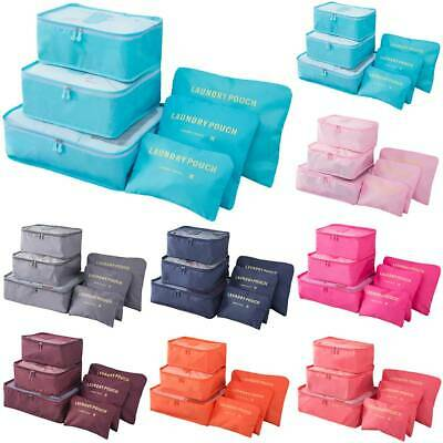6Pcs Travel Luggage Organizer Bag Suitcase Pouch Clothes Packing Cube Storage