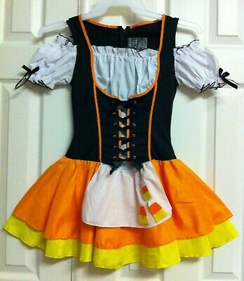 HALLOWEEN - Candy-Corn Witch COSTUME DRESS (or Cute OZ SCARECROW) - JR-S/M 10-12