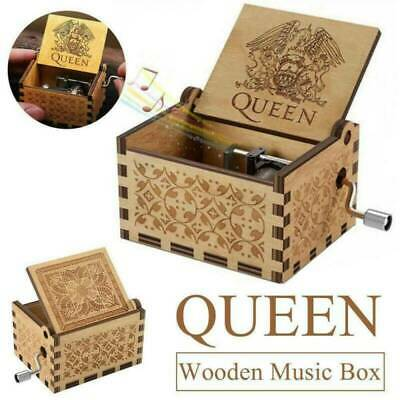 Novelty Hand Crank Wooden Engraved Queen Music Box Kids Christmas Gift 64*52mm