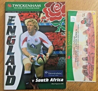 England v South Africa Programme 2006, plus ticket