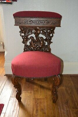 19th Century Oak Cock Fighting Chair (Possibly Black Forrest Calving)