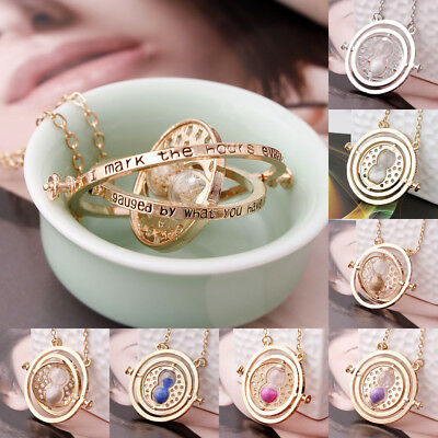 Magician Time Turner Golden Pendant Hermione Granger Spin Hourglass Necklace