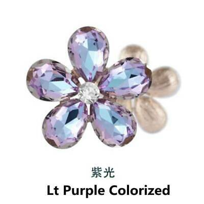 2pcs Crystal Rhinestones Beads Flower Embellishments Patches Purple Colorized