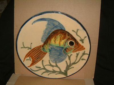 """Beautifully Crafted Vintage Puigdemont Fish Plate - 9.5"""" Diameter"""