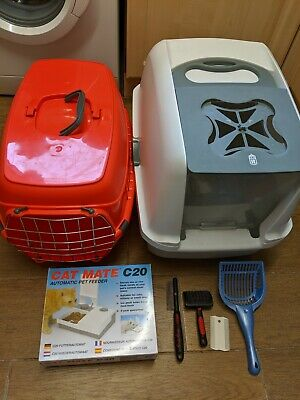 Cat Carrier, Covered Litter Tray, Automatic Feeder, Brushes CAT STARTER KIT!!!