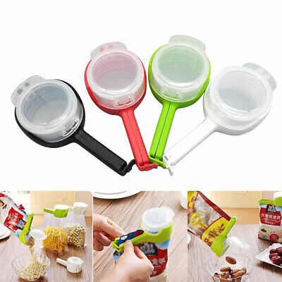 2in1 Seal Pour Bag Clip with Lid Food Snack Storage Saver Sealer Kitchen Tool