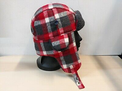Men's John Lewis Red/White/Grey Checked Trapper Hat Size Medium BNWT @15C