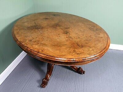 An Antique Victorian Burr Walnut Tilt Top Dining Table ~Delivery Available~