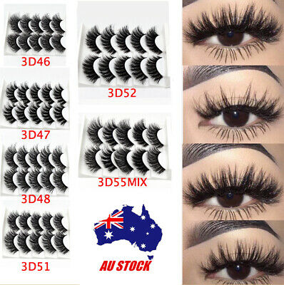 5 Pairs Mink Natural Thick False Fake Eyelashes Eye Lashes Makeup Extension 3D