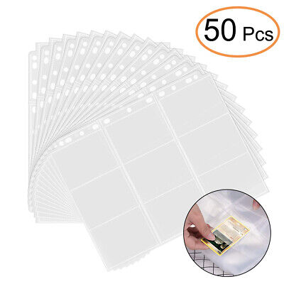 50 Sheet Clear Cover Trading Card Album Collection Folder Binder Pocket Sleeves