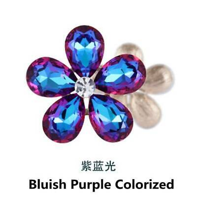 2pcs Crystal Rhinestones Beads Flower Embellishments Patches Violet Colorzied