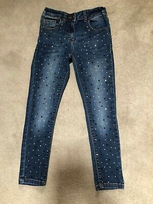 Girls M&S Blue Soft denim Diamanté Embellished Jeans  age 8-9 Lovely Condition