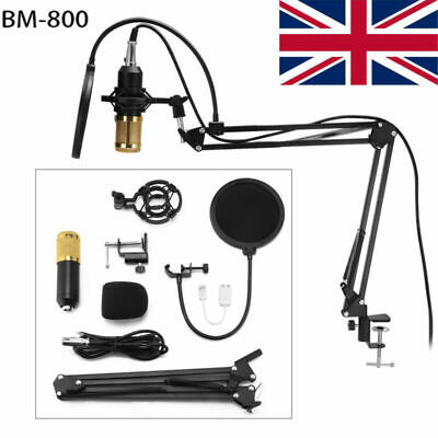 BM800 Audio Vocal Studio Recording Mic Condenser Microphone Kit Arm Stand Mount