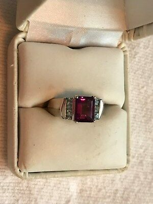 Beautiful Ring Size 8 With Purple Amethyst And Aquamarine In Ss925
