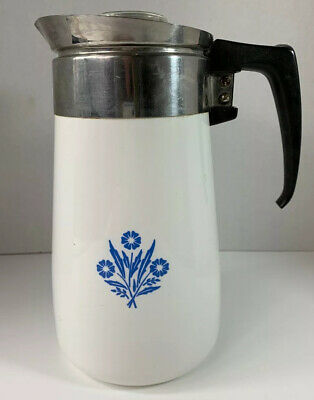 Vintage Corning Ware 9 Cup Blue Cornflower Stove Top Percolator Coffee Pot AS IS