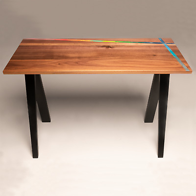 Solid Walnut Desk with Multicoloured Wax Inlay