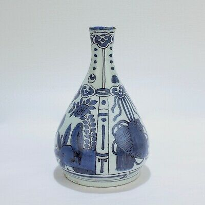 Antique Dutch Delft Pottery Pear Shaped Vase w a Guest & Gray Retail Label - PT