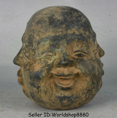 """4.4"""" Rare Old Chinese Bronze four sides expression Maitreya Buddha Head Statue"""