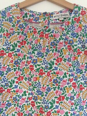 MINI BODEN Girls Liberty Floral Cotton Lined Smock Dress 7 8 Years party Mustard