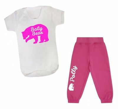 Personalised first tracksuit joggers vest t-shirt your name baby bear set pink
