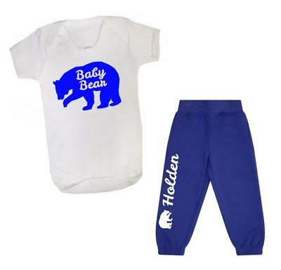 Personalised first tracksuit joggers vest t-shirt  your name baby bear set blue
