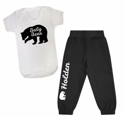 Personalised first tracksuit joggers vest t-shirt your name baby bear set black