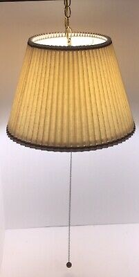 Vintage MCM Retro Hanging Swag Light Lamp with Shade Pull Chain 60's 70's