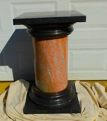 LARGE Antique Pink and Black Marble Column Pedestal from Museum