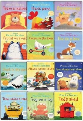 Usborne Phonics Young Readers 12 Picture Books Collection Gift Set PB NEW