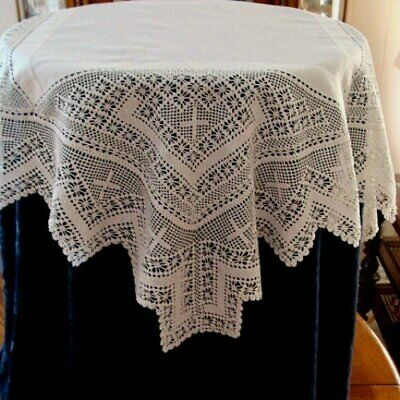 "HAND MADE Antique Linen DEEP Lace Tablecloth 36"" Authentic English Tea Cloth"