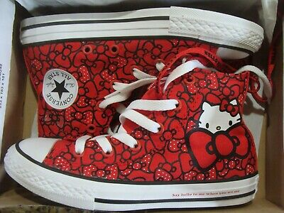 Youth Girls Converse Hello Kitty 362996F  CTAS HI Red Black White Size 11~2