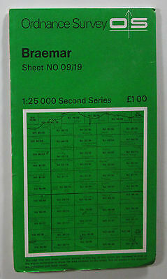 1975 old vintage OS Ordnance Survey Second Series 1:25000 Map Braemar NO 09/19