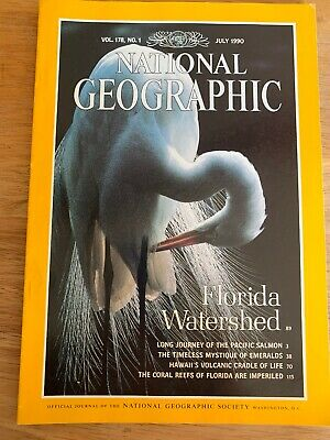 National Geographic Magazine July 1990 Corsl Reefs,Pacific Salmon, Emerald
