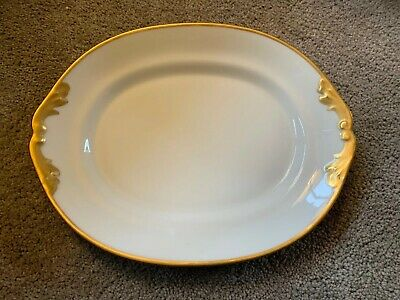 Antique M Redon LIMOGES PLATTER White with Hand Painted Heavy Satin Gold Trim