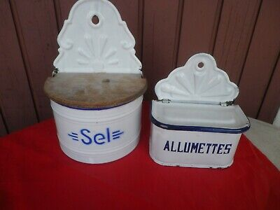 2 Boites  Emaillees Murales Salt And Matches Box 1930 / Collectibles Kitchenware