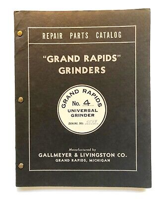Vintage Original 1945 Grand Rapids Universal Grinders Repair Parts Catalog