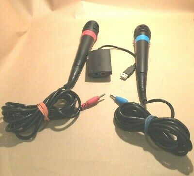 2 x Singstar Official Wired Microphones (PS2 PS3 or PS4) Excellent